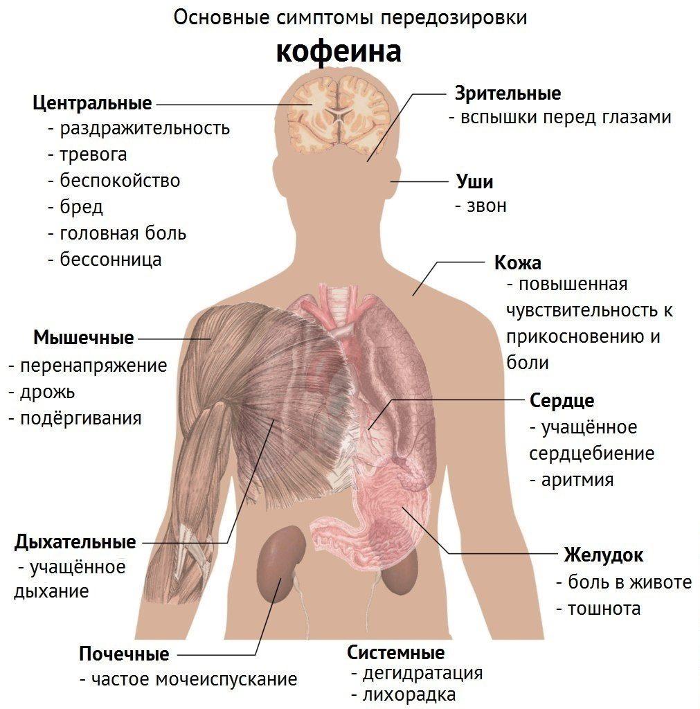 основные симптомы передозировки кофе